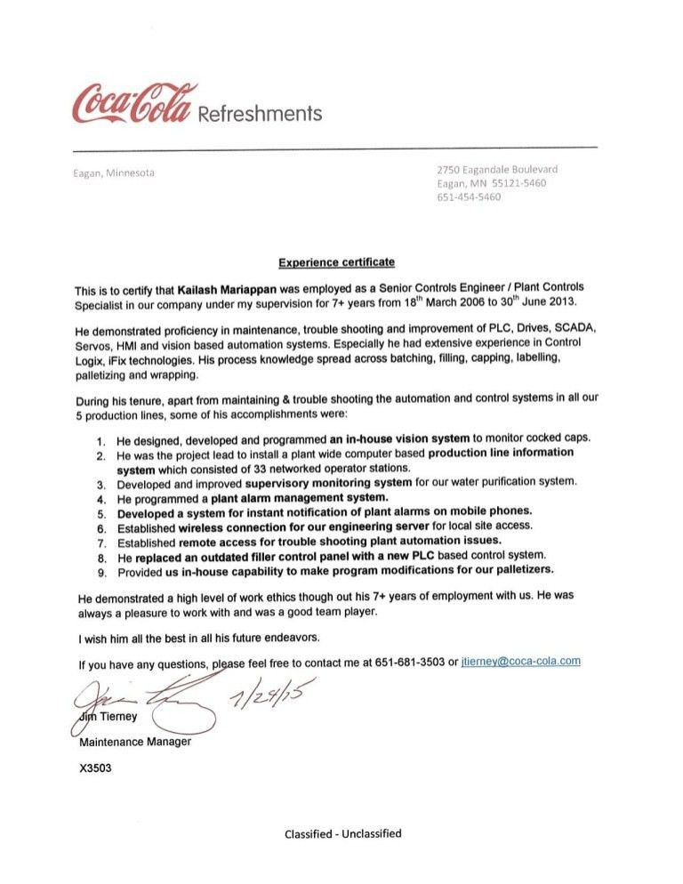 Experience certificate from Coca Cola
