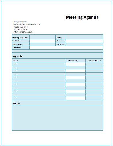 Agenda Template Meeting | Professional Templates - Part 8