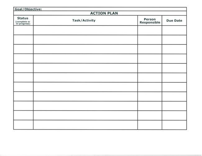Simple Action Plan Template Word Example Featuring Table with 4 ...