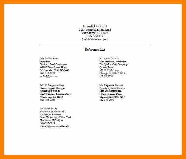 Reference List Format.Professional Reference List Template.jpg ...
