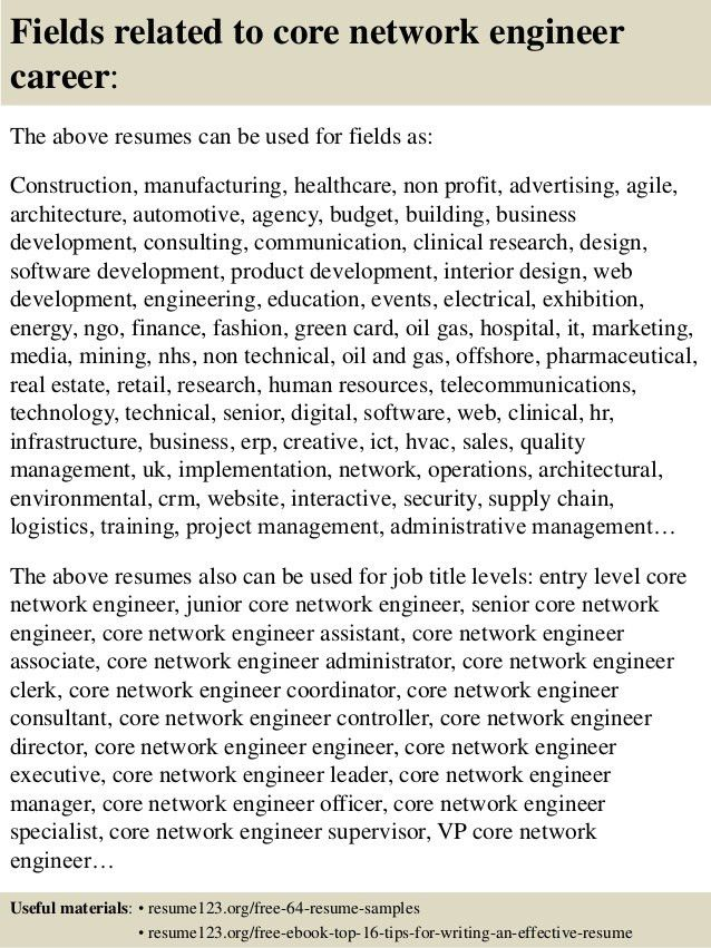 Top 8 core network engineer resume samples