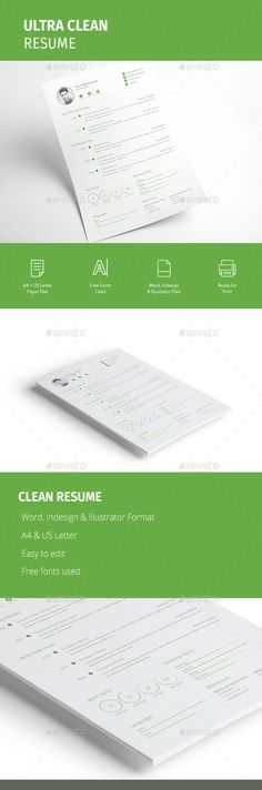 Cascade One Page Resume Template   Cv template, Print templates ...
