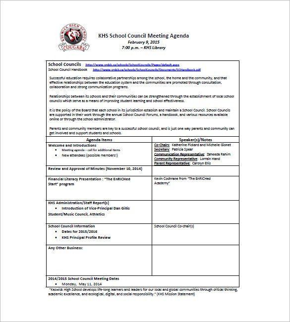 10+ School Agenda Templates - Free Sample, Example, Format ...