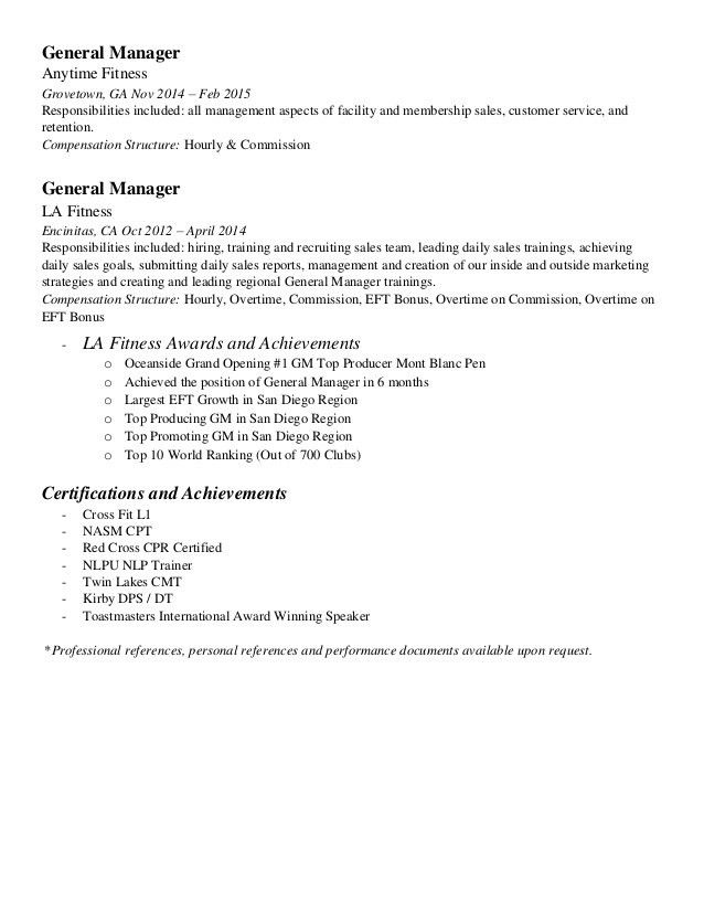 Gym Manager Resume Template - Contegri.com
