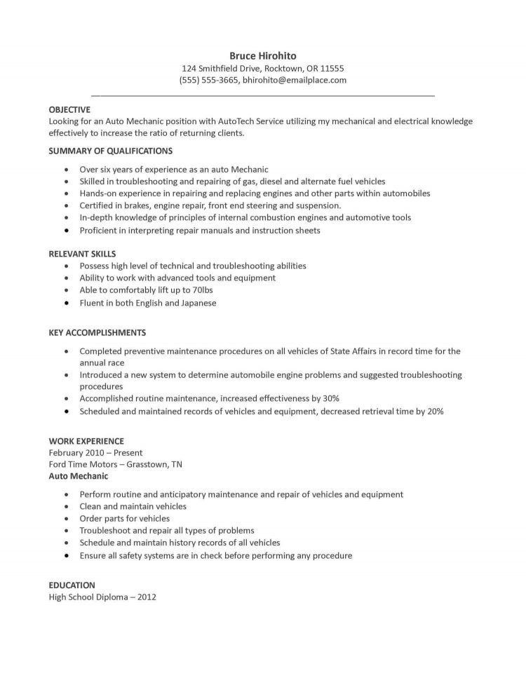 auto mechanic resume objective unforgettable automotive