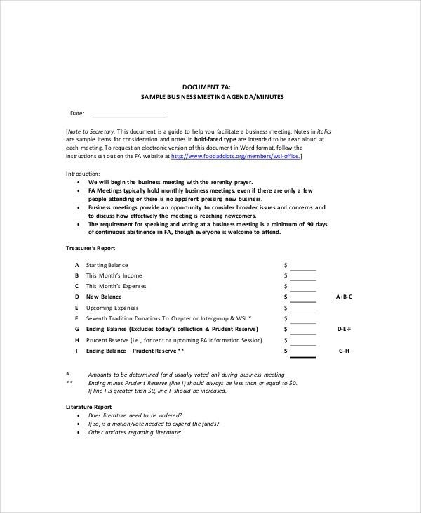 sample corporate meeting minutes template