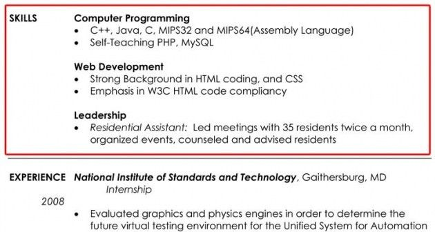 Resume Skills Section Example – Resume Examples