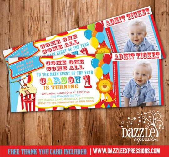 Circus Ticket Birthday Photo Invitation - Printable - Thank you ...