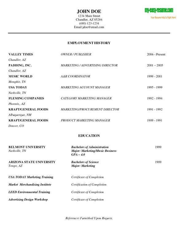 sample easy resume resume cv cover letter. 12 college fresh ...