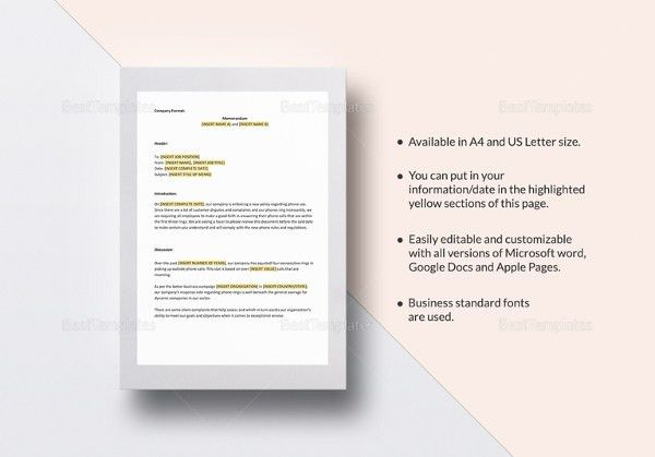13+ Business Memo Templates – Free Sample, Example, Format ...