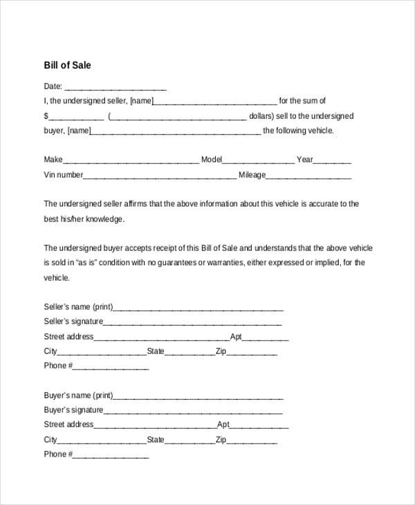 Sample Bill Of Sale Forms   22+ Free Documents In Word, PDF