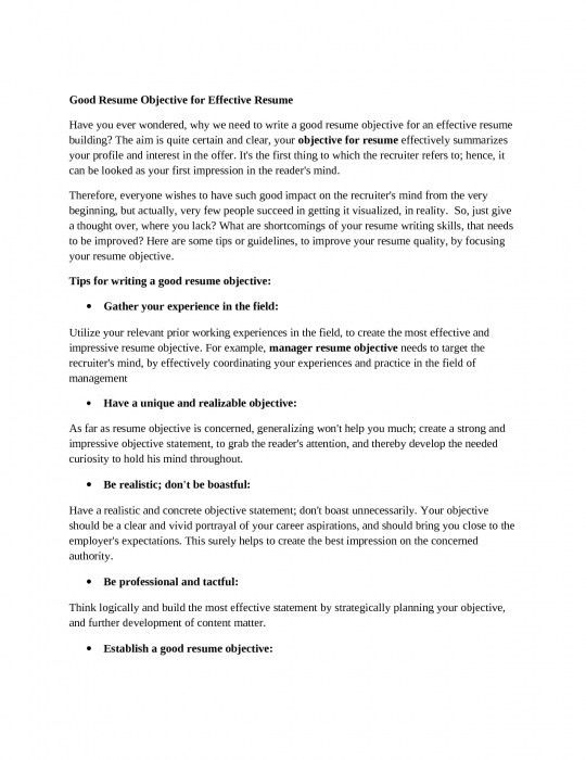Brilliant Good Objective Line For Resume | Resume Format Web