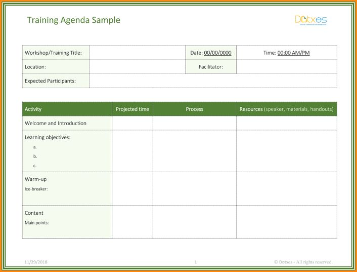 Training Agenda Template.customer Service Training Agenda Template ...