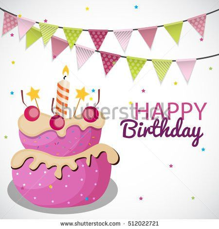 Vector Happy Birthday Card Birthday Cake Stock Vector 414146266 ...
