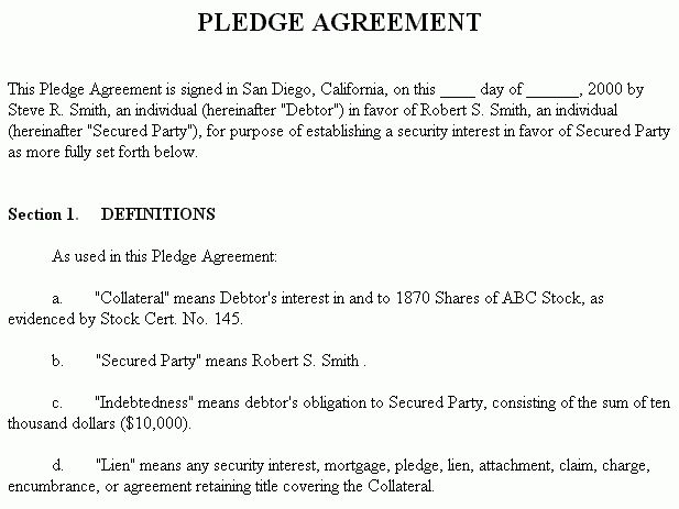 Example Document for Pledge Agreement