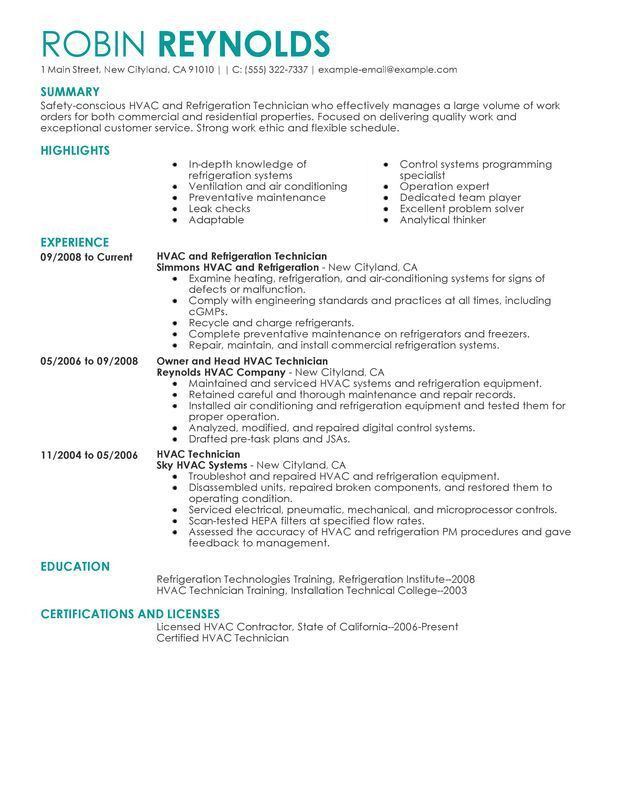 Unforgettable HVAC and Refrigeration Resume Examples to Stand Out ...