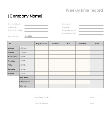 Weekly time sheet with sick leave and vacation - Office Templates