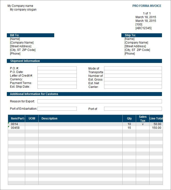 free proforma invoice template word