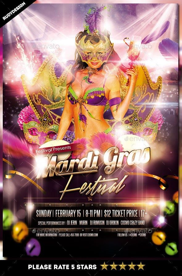 Mardi Gras Fat Tuesday Carnival Flyer Template by rudydesign ...