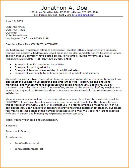 9+ cover letter customer service example - Basic Job Appication Letter