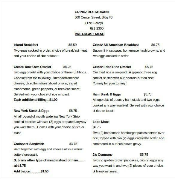 Menu Template Word. wedding menu template 44 free word pdf psd eps ...