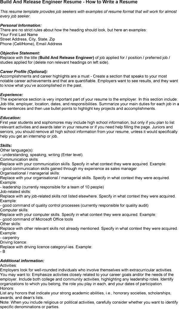 electronic engineer resume sample 42 best best engineering resume - Build And Release Engineer Resume