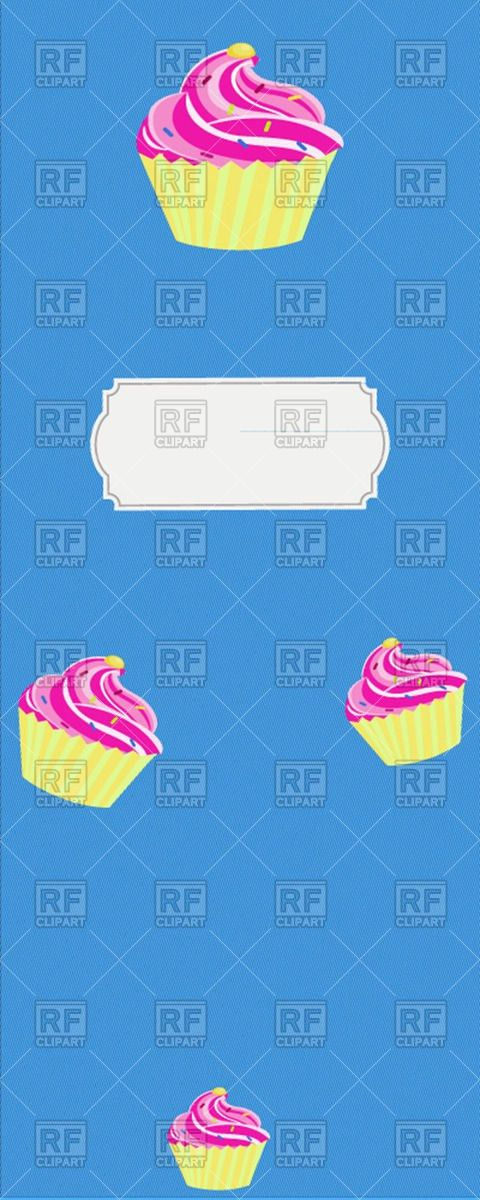 Vertical dessert menu template with cupcakes Vector Image #50582 ...
