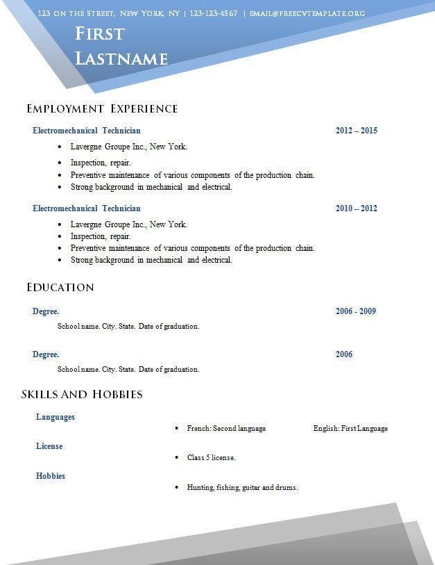 Free cv template no sign up (#517 to 524) – Free CV Template dot Org