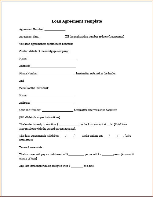 4 money loan contractReport Template Document | report template