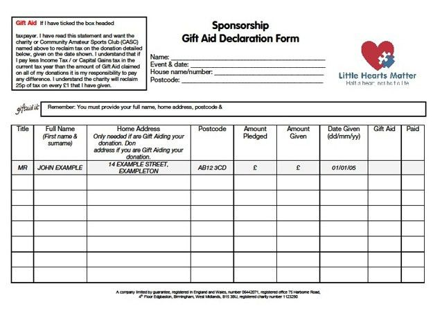 Charity sponsor form template