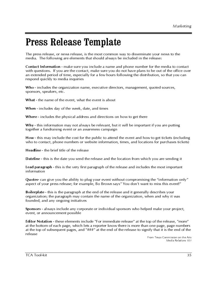 Press Release Template - Texas Free Download