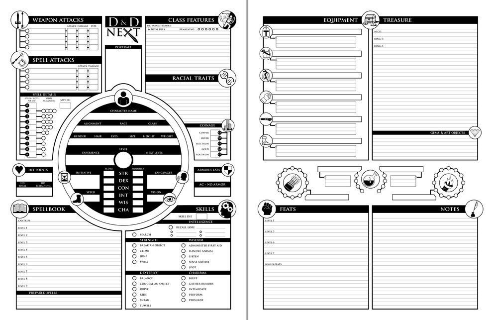 Homebrew Character Sheet Contest Finalists