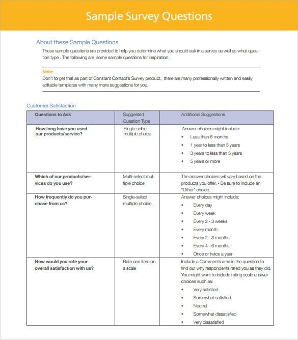 Sample Customer Survey - 6+ Documents In PDF, Word