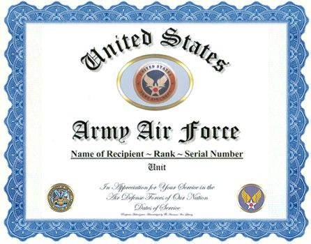 Army Air Corps/Army Air Force Service Appreciation Recognition
