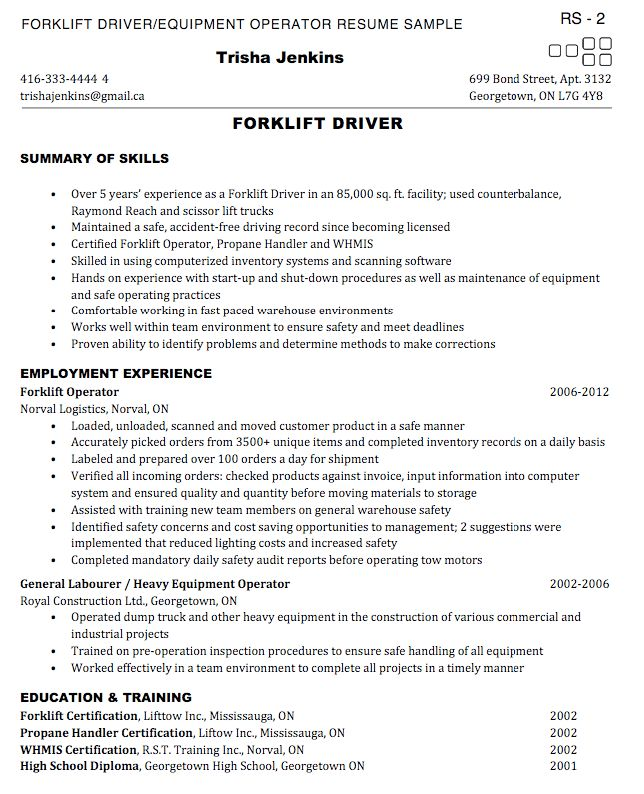 Download Forklift Operator Resume | haadyaooverbayresort.com