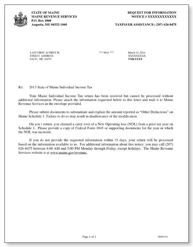 Maine Revenue Services Additional Information Letter
