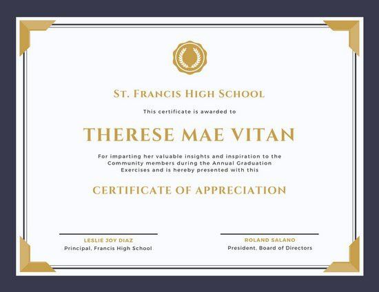 Sample Certificate Of Appreciation. Free Certificate Of ...