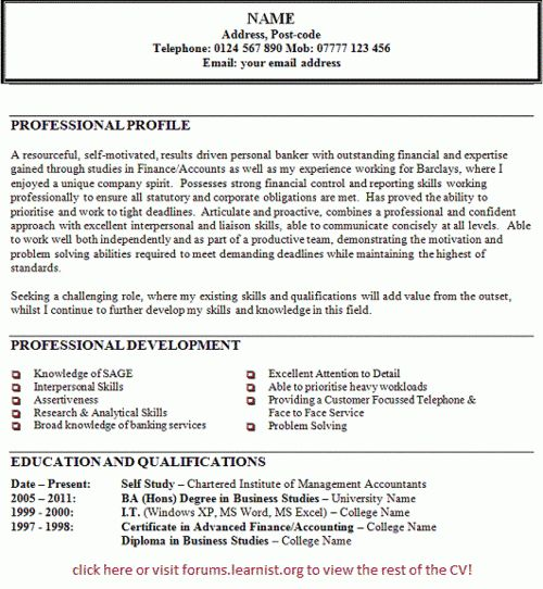 example of personal statement for resume personal profile