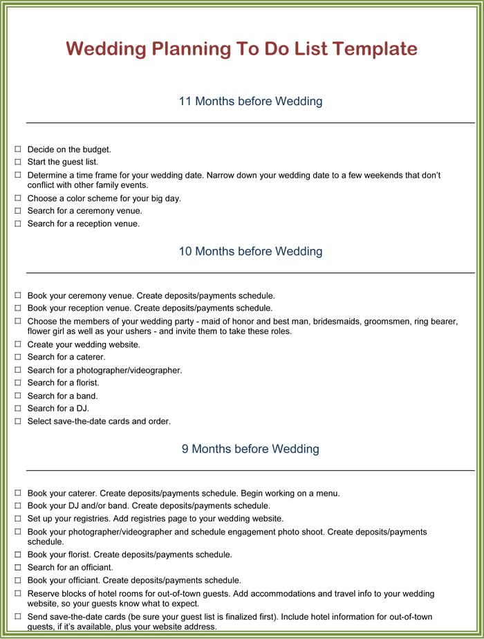 Wedding To Do List Template | to do list template