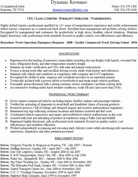 Example Expertise and Forklift Operator Resume Sample : Expozzer