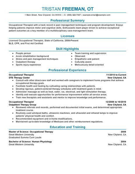 Best Occupational Therapist Resume Example | LiveCareer