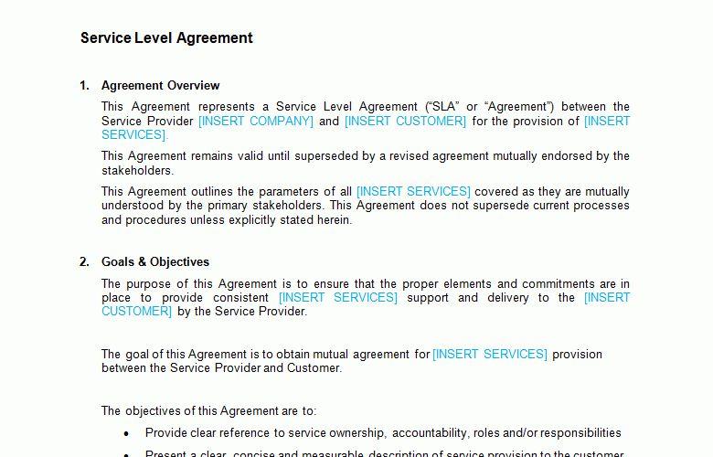 Service Level Agreement (SLA) Template - Bizorb