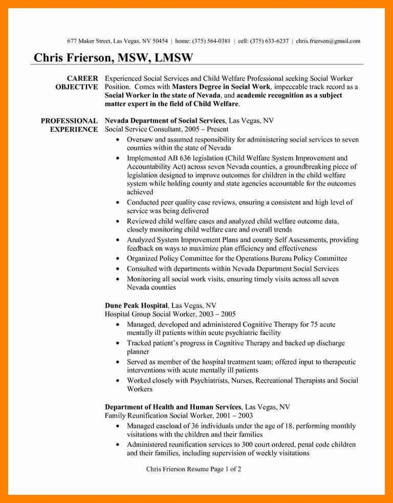 resume objective for social worker