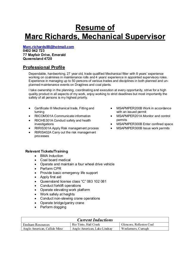 Facility Maintenance Supervisor Resume - Contegri.com