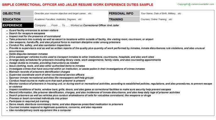 Correctional Officer And Jailer Resume Sample