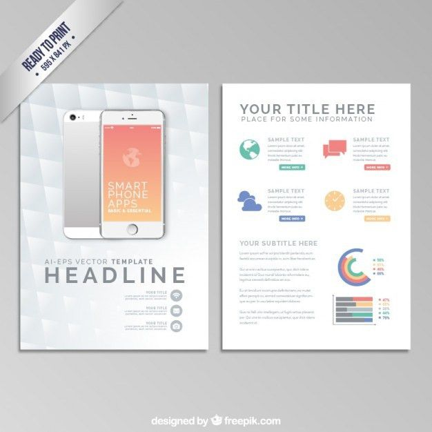 Brochure template with a smartphone Vector | Free Download
