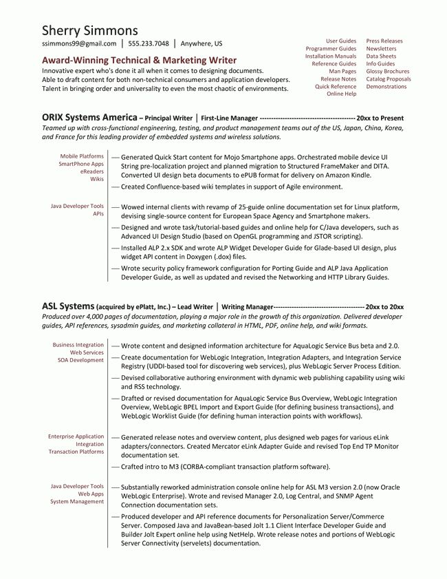 Technical Writer Functional Resume Sample - http://www ...