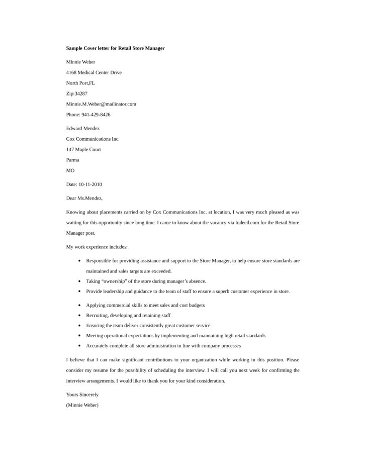 Basic Retail Store Manager Cover Letter Samples and Templates