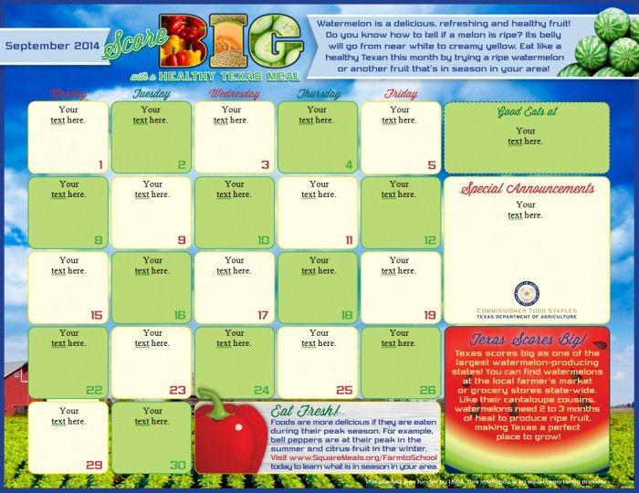 Free Printable School Menu Calendar Menu Templates * Calendar ...