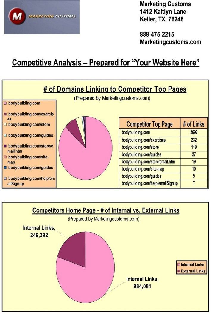 Examples of Our Competitive Analysis Services | Content Customs